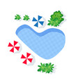 top view happy holiday pool with beach vector image