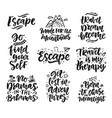 travel adventures hand written lettering quotes vector image vector image