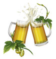 two mugs with beer and hops vector image vector image