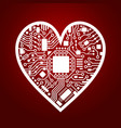 valentines day red background with cyber heart vector image