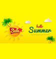 yelloy flyer hello summer banner sale summer vector image vector image