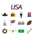 USA flat icon set vector image