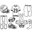 American Footbal Equipment - hand-drawn vector image vector image