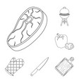 barbecue and equipment outline icons in set vector image vector image