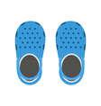 blue beach clogs pair summer plastic sea shoes vector image vector image