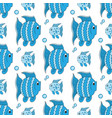 blue funny fish seamless pattern vector image vector image