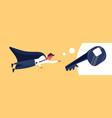 businessman dressed superhero cloak flying up key vector image