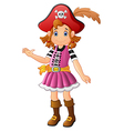 cartoon lady pirate presenting vector image vector image