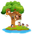 children playing in the treehouse vector image vector image