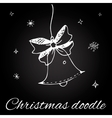 Christmas bell in doodle style vector image