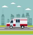 city landscape scene with ambulance truck vector image