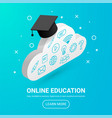 cloud with graduation cap icons text vector image vector image