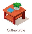 coffee table icon isometric style vector image vector image
