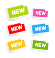 Colorful Stickers with New Title Isolated on White vector image