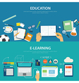 concepts education and e-learning flat design vector image vector image