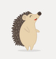 cute hedgehog standing animal cartoon vector image