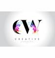 cw vibrant creative leter logo design vector image vector image