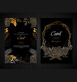 dark floral gold wedding card template vector image vector image