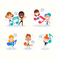 diversity kids cartoon playing with music notes vector image