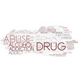 drug abuse word cloud concept vector image vector image