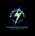 electrical logotype black background vector image vector image