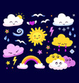 emotional sun and clouds stars rainbow on dark vector image