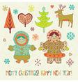 eskimo girls Christmas card vector image vector image