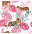 exotic tiger animal in jungle pattern vector image