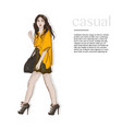 fasion style outfit woman in yellow jacket dress vector image