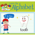 Flashcard letter T is for tooth vector image vector image