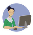 girl freelancer working at home office web vector image vector image