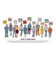 group happy people and sign like isolate on white vector image vector image