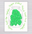 hand drawn poster with jar full of broccoli with vector image