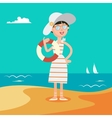 Happy Young Woman on the Sea vector image vector image