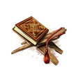 holy book of koran with rosary from splash of vector image vector image