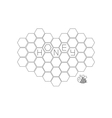 Honeycomb set in shape of heartBee insect animal vector image vector image