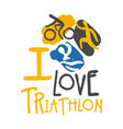 i love triathlon logo colorful hand drawn vector image vector image