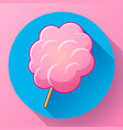 icon of cotton candy sugar cloud on stick vector image vector image