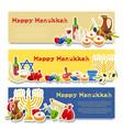 jewish holiday hanukkah banners set vector image