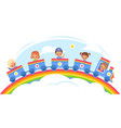 kids steam train happy children carriages ride vector image vector image