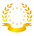 Laurel wreath with ribbon and stars vector image vector image