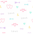 Love symbols seamless pattern vector image
