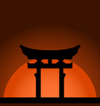 miyajima torii gate with sunset background vector image vector image