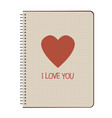notebook sheet and heart-03 vector image vector image