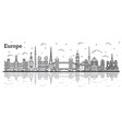 outline famous landmarks in europe with vector image
