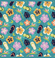 pattern in hawaiian style from flowers and element vector image vector image