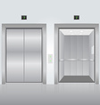 Realistic chrome opened and closed elevator doors vector image