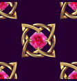 seamless pattern gold and pink jewel vector image
