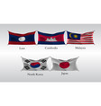 set flags of countries in asia waving flag of vector image