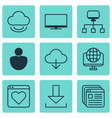 set of 9 world wide web icons includes login vector image vector image